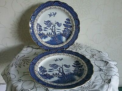 """Pair Booths Real Old Willow 9.5 """"Blue & White Dinner Breakfast Tea plates  A8025"""