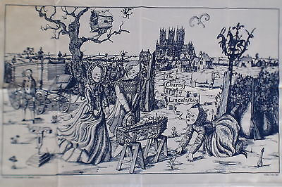 Grayson Perry The Charms of Lincolnshire Tea Towel C2006 for framing or use Blue