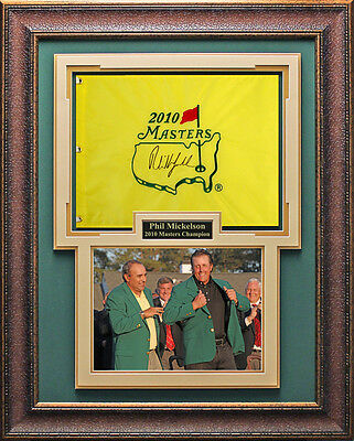 Phil Mickelson Autographed Masters Flag Framed