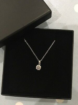 Platinum Over Sterling Silver 6mm Simulated Diamond Pendant Necklace Chain