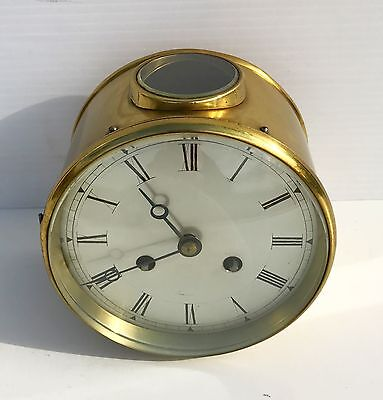 Large Brass Striking Drum Clock With Porthole Window