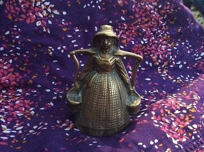 Vintage Brass Bell Victorian Lady*carrying Food