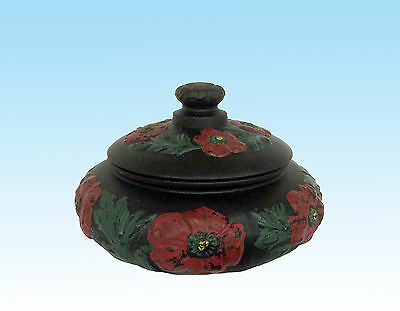 Tiffin Black Satin Glass Poppy Covered Cotton Bowl With Coralene Poppies