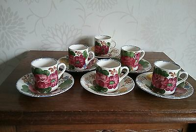 6 Simpsons Potters Cobridge Belle Fiore Solian Ware 1950s Coffee Cans & Saucers