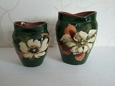Antique Pair of  Mantle Vases Watcombe Pottery K2 on base of each West Country