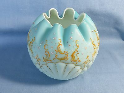 Consolidated Satin Cased Glass Blue Rose Bowl Shell Painted Seaweed Crimped Top