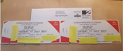 2x seats for Coldplay Cardiff 11 July 2017 Upper Seated