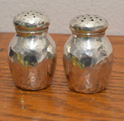 """Arts & Crafts Sterling """"R. Wallace & Sons"""" Hand Hammered Salt & Pepper Shakers"""