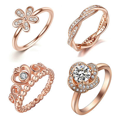 Women 925 Silver 18K Rose Gold Filled Men Wedding Engagement Ring Size 6-10