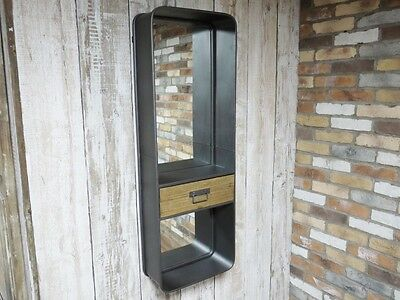 LARGE Retro Vintage Industrial Style OBLONG Wall Mirror with Drawer 121cm