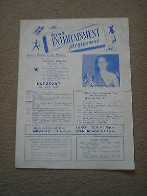 Butlin's Holiday Camp Skegness ~ Entertainment Programme 1949