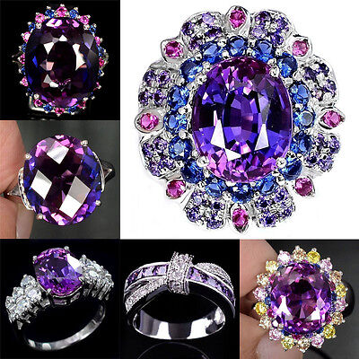 925 Silver Woman Tanzanite White Topaz Sapphire Wedding Engagement Ring Size6-10