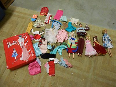 Lot Of Vintage Barbie Dolls, Clothing, Accessories, 1962 Red Ponytail Case