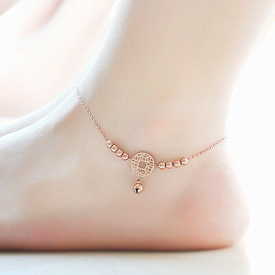 18K Rose Gold Stainless Steel Jewelry Anklet Coin Bell Beads Ankle Bracelet Gift