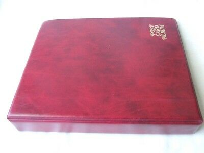 Luxury Red Padded 4 Ring Postcard Album & Leaves, Excellent Condition