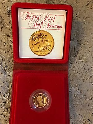 1980 Elizabeth II 22ct Rose Gold Proof Half Sovereign with Case & Certificate