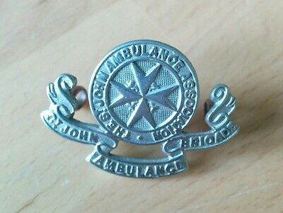 St Johns Ambulance Brigade Association charity Club metal cap badge Freepost UK