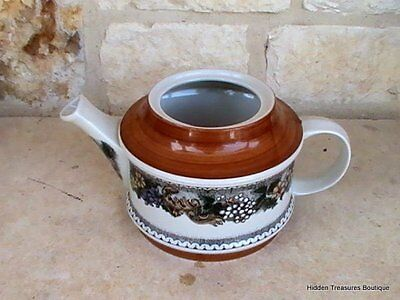 Goebel Burgund Country Teapot w/o Lid Rust Yellow Blue Gray Floral Germany