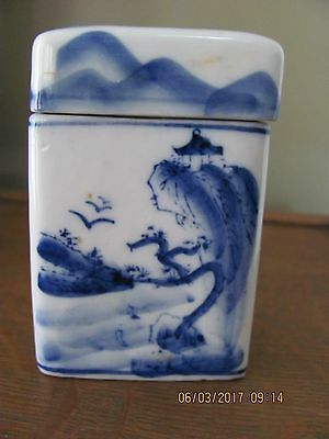 Antique Small Japanese/chinese Hand Painted Porcelain Box
