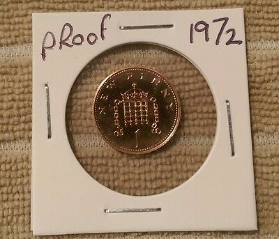 1972 PROOF 1p pence coin, Great Britain, Royal Mint, One pence