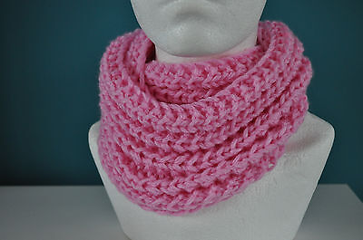 Hand knitted pink girls snood,size 2-3 years,NEW