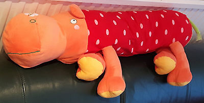 Soft Toy HIPPO PILLOW large cuddly plush stuffed adorable red zoo animal cushion