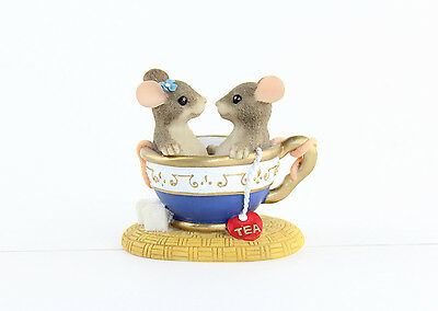 Fitz and Floyd Charming Tails You Are My Cup of Tea Mice in Tea Cup Figurines