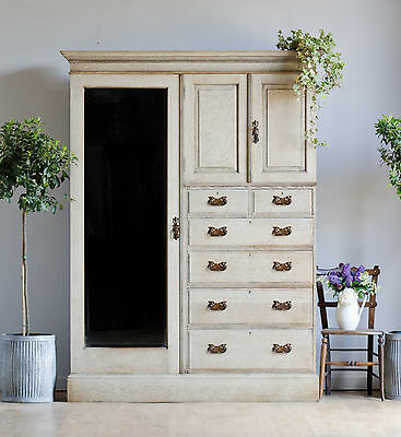 Antique Victorian Bleached Oak Triple Wardrobe Armoire Compactum with Drawers