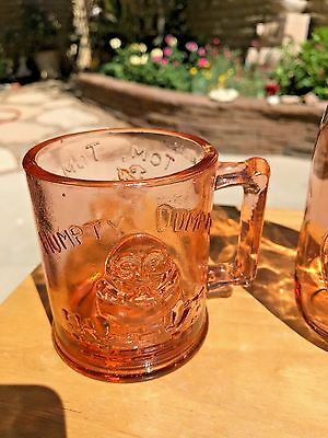 Vintage Pink Humpty Dumpty & Tom Tom the Pipers Son Indiana Glass Cup EXCELLENT!