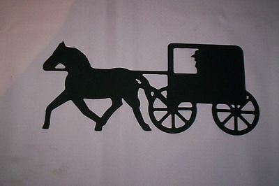 """Large Metal Amish Horse And Buggy (Refrigerator) Magnet  -  10"""" X 4"""""""