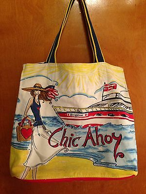 Brighton Chic Ahoy Large Tote Bag Beach Shopping Canvas Girl with Sunglasses