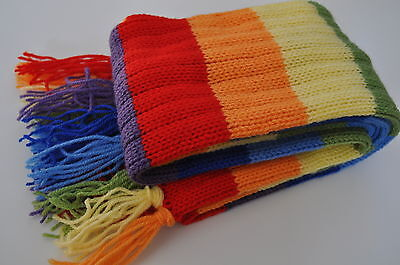 Kids rainbow colours knitted  girls,boys scarf,New,with tassels