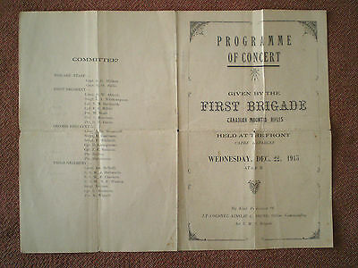 WW1 CEF 1915 First Brigade Canadian Mounted Rifles Concert Programme