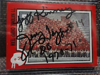 Tagge Kinney Autographed Team Card Nebraska Huskers 1970 1971 National Champions