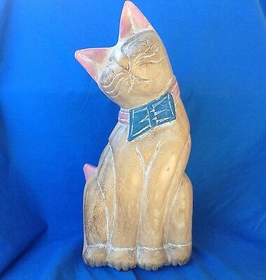 HAND CARVED CAT Beautiful Natural Wood with painted accents