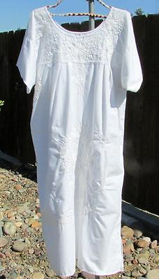 Vintage White Mexican Embroidery Dress XL Cotton Dressy Festival Hippie Wedding