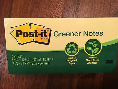 Post-It Notes 3x3 Greener Recycled Yellow, 3M 12 pads/pack, Qty 1200