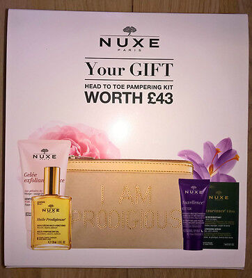 NUXE Pampering Kit Exfoliating Gel Nuxellence Detox Nuxuriance Serum Dry Oil Bag