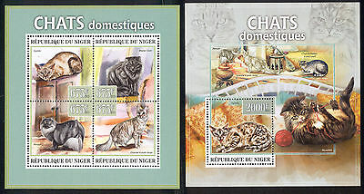 Niger - 2013 two MNH sheets of 4 11791204 Cat breeds Lot 35