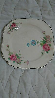 """(K30) VNTG Pink Flower Semi Virteous Edwin M. Knowles China 7"""" plate floral 32-4"""