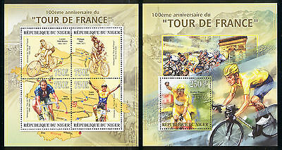 Niger - 2013 two MNH sheets of 4 11901215 Tour de France bicycle race Lot 46
