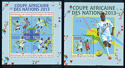 Niger - 2013 two MNH sheets of 4 11911216 African cup of nations soccer Lot 47