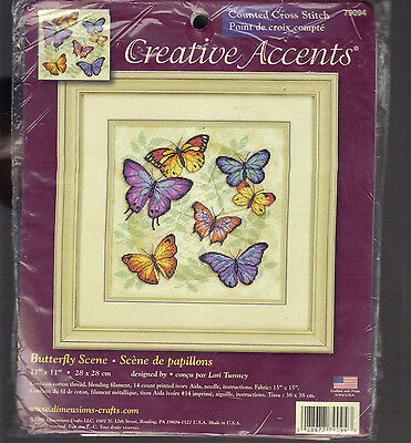 Creative Accents Butterfly Scene Counted Cross Stitch Kit New Opened