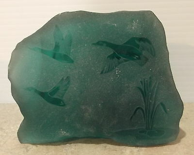 Heavy Etched Green Glass  Decorative Ornament or Paper Weight Geese in Flight