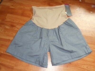 Nwt Motherhood Maternity Gray Secret Belly Shorts Sz L