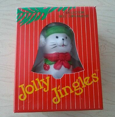 Jolly Jingles Handpaint Porcelin Bisque Collector Bell Ornament Cat Original Box