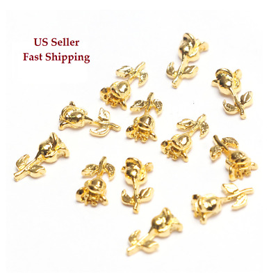 20pcs New 3D Gold/Silver Roses Alloy Flowers Bud/Blooming Charms Nail Art Decor