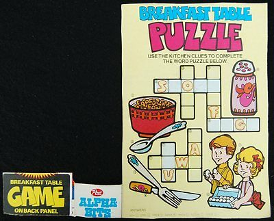 [ 1970s Post ALPHA-BITS Cereal Box - Breakfast Table CROSSWORD PUZZLE - Vintage]