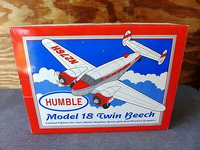 NEW SpecCast Limited Ed Die Cast Metal Humble Model 18 Twin Beech Airplane Bank