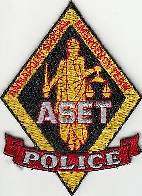 Annapolis Special Emergency Team Aset Police Patch Maryland Md (Old)